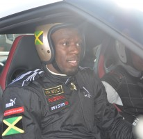 Usain Bolt at grandrive with Nissan GTR racer Michael Krumm