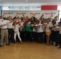 Usain meets the Digicel staff in Gran Cayman