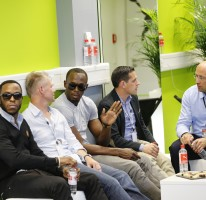 Usain attends the Puma 360 meeting in Herzo