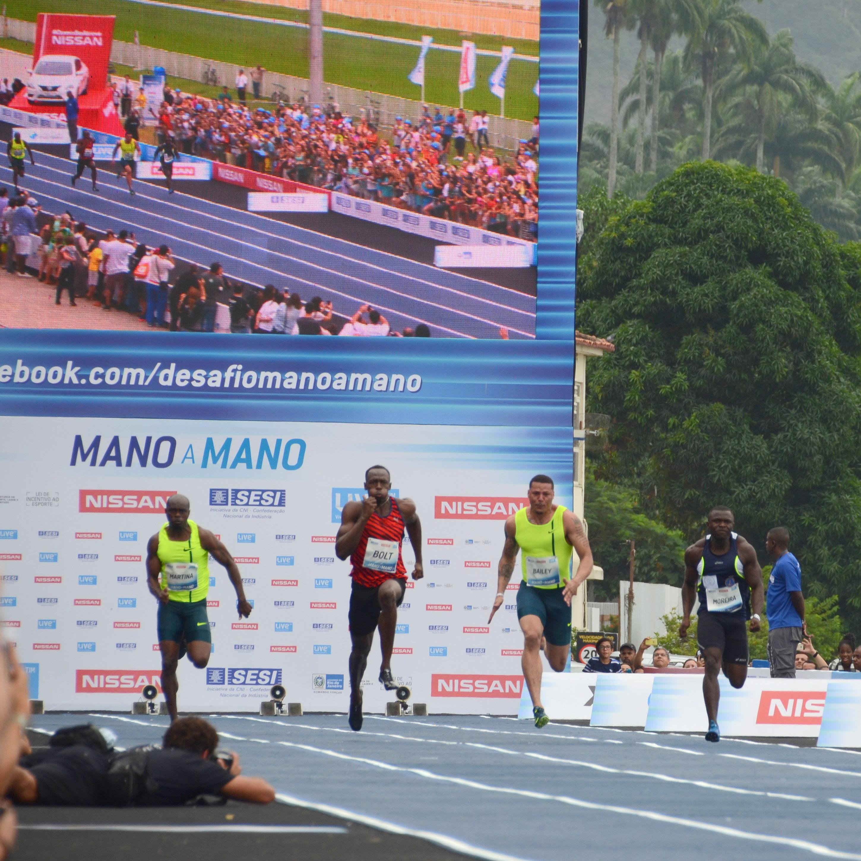 Usain wins 3rd Mano a Mano in Rio de Janeiro