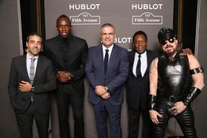 Jean-François Sberro (General Manager of Hublot America), Usain Bolt, Ricardo Guadalupe (CEO of Hublot), Pelé and Peter Marino at Hublot 5th Avenue (NYC) Boutique Opening