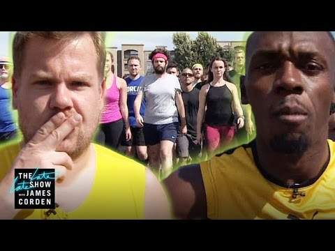 Usain on the Late Late show with James Corden